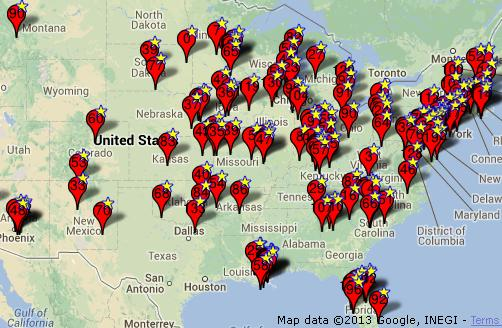 Map of Powerball Jackpot Winners