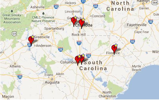 Map of Powerball Jackpot Winners - South Carolina