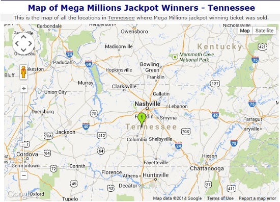Megamillion Jackpot Winners TN