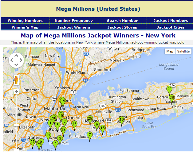 Map of Megamillion Jackpot Winners in New York