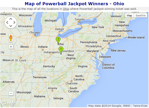 Map of powerball jackpot winner in Ohio