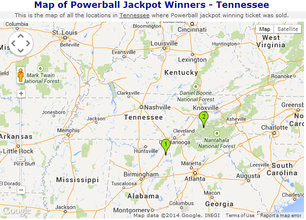Map of powerball jackpot winner in Tennessee