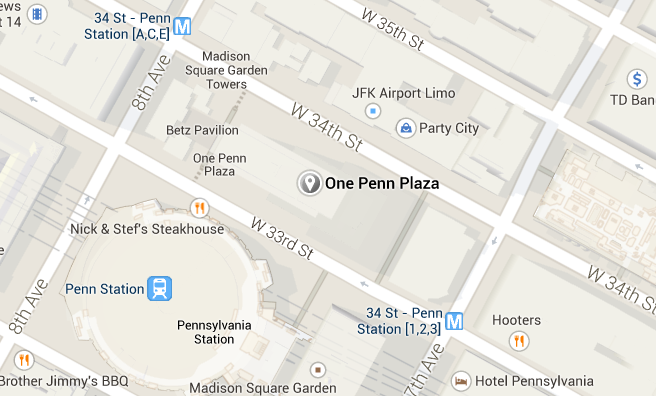 Map of Carlton Cards at 1 Penn Plaza, New York.
