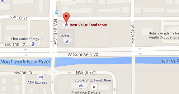Map of the Best Value Food Store, at 1040 NW 47th Ave., in Plantation