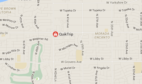 Map of a QuikTrip gas station in Glendale where Maria Herrera bought her winning $188 M Powerball ticket.