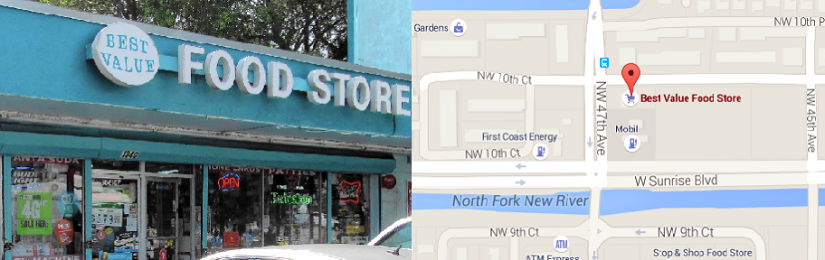 Image and Map of Best Value Food Store where Orencia Barzey bought her $80 millionpowerball Ticket.