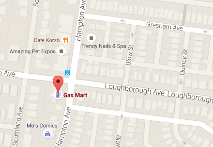Map of Gas Mart, 6901 Hampton Ave. St. Louis where $70 Million Powerball ticket was sold from  July 4 drawing.
