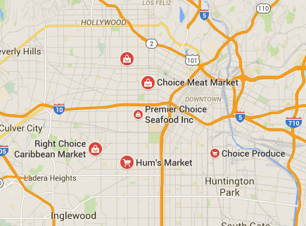 Map of  CHOICE MARKET LOS ANGELES CA where winning $110 powerball ticket was sold.