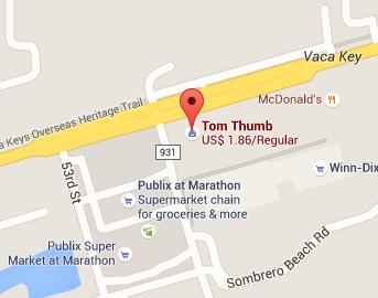Map of Tom Thumb convenience store, Marathon, Florida.