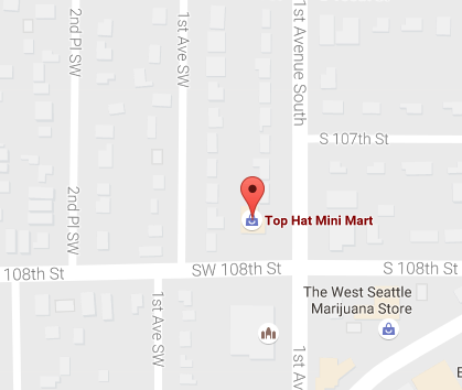 Map of a White Center Quick Stop Food Mart (10723 1st Ave S Seattle, WA) where winning ticket was sold.