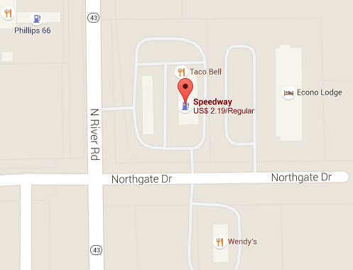 Map of The Speedway at 1589 N State Road 1 in Cambridge City, IN, where winning $540 M Mega Millions ticket was sold