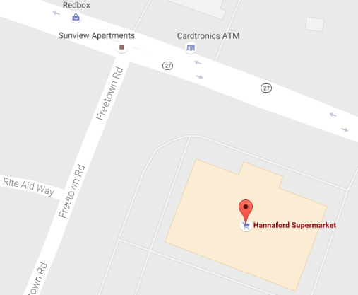 map of the local Hannaford supermarket in Raymond, a southern New Hampshire
